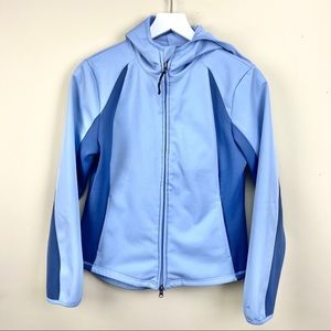 champion hooded sport jacket blue size small